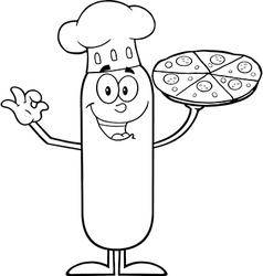 Chef Sausage Cartoon with Pizza vector
