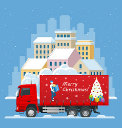 christmas and new year delivery truck christmas vector image