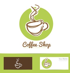 Coffee shop stylized hand drawing logo cup vector image