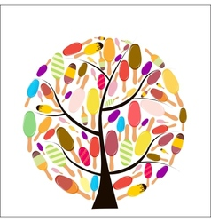 Colorful popsicles on tree vector image
