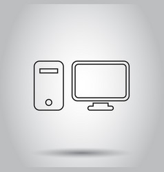 computer monitor in line style icon on isolated vector image