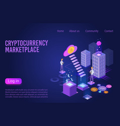 cryptocurrency marketplace landing page isometric vector image
