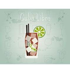 Cuba Libre Cocktail banner and poster template vector image
