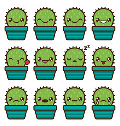 cute cactus emoticons vector image