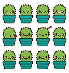 Cute cactus emoticons vector