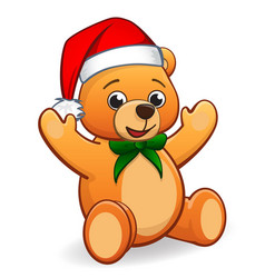 cute cuddly teddy bear with santa hat vector image