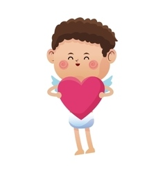 cute little cupid valentine day pink heart vector image