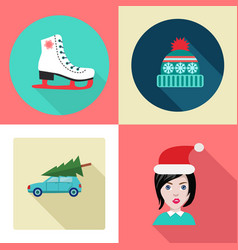 cute set of winter theme design elements vector image