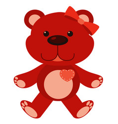 Cute teddy bear in red color on white background vector