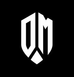 dm logo monogram with emblem shield style design vector image