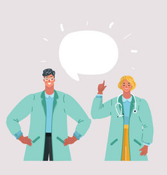 doctor talking man and woman vector image