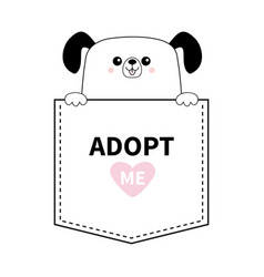 Dog in the pocket holding hands adopt me pink vector