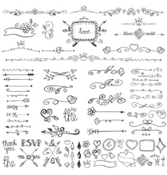 Doodle floral decor setBordersframesarrows vector image