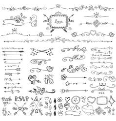 Doodle floral decor vector
