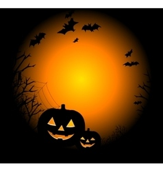 Drawing by day halloween with a pumpkin vector image