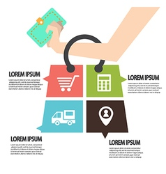 E-commerce infographic Template with bag Concept vector image