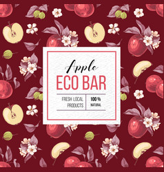 eco bar apple paper emblem vector image