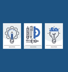 education set cards online vector image