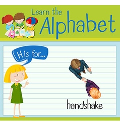 Flashcard letter h is for handshake vector