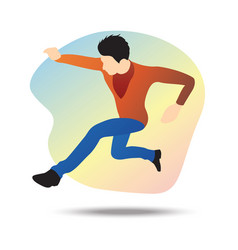 flat a young businessman jumping vector image
