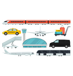 flat set of airport elements express train vector image