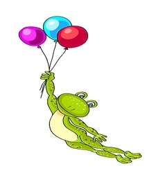 flying green frog with three colored balloons vector image