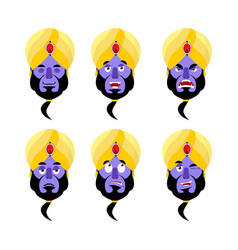 genie emoji emotion set aggressive and good magic vector image