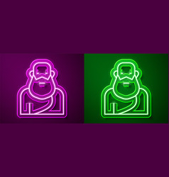 Glowing neon line socrates icon isolated on purple vector
