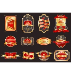 Golden retro labels emblems collection vector image