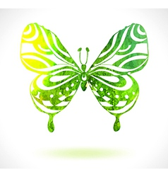 Green color background with watercolor butterfly vector image