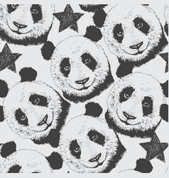 hand-drawn seamless pattern background with panda vector image