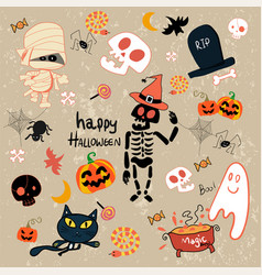 Happy halloween clip art cartoon set vector