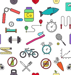 Healthy lifestyle colorful pattern icons vector