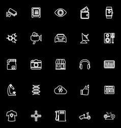 Hitechnology line icons on black background vector