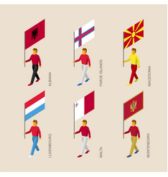 Isometric people with flags of european countries vector