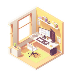 Isometric programmer workplace vector