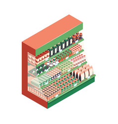 isometric supermarket rack composition vector image