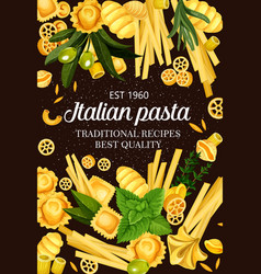 Italy cuisine food pasta and greens spaghetti menu vector