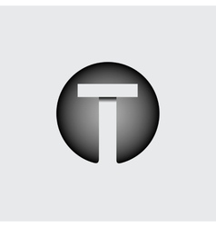 Letter t made of wide white stripes vector