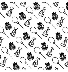 Line cake candles with hats and balloons vector