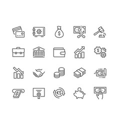 Line finance icons vector