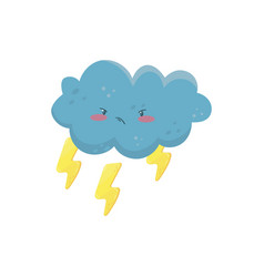 Little angry cloud with yellow lightning bolts vector