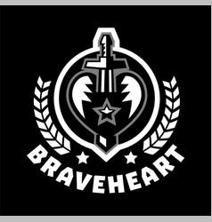 logo brave heart sword piercing heart vector image