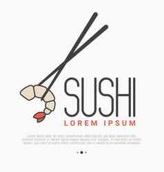 Logo with shrimp and chopsticks for sushi bar vector