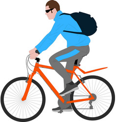 Man ruding bicycle vector