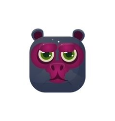 Monkey square icon vector