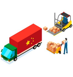 mover puts boxes with parcels into wagon loading vector image