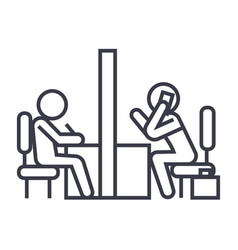 Negotiation room coworking office linear icon vector
