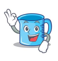 Okay measuring cup character cartoon vector