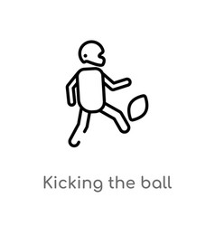 Outline kicking ball icon isolated black vector